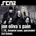 JON OLIVA'S PAIN / PROG NIGHT AM FREITAG IN GUNZENDORF: KARTENVERLOSUNG